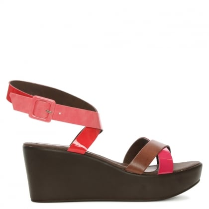 Pink & Brown Ankle Strap Wedge Sandal