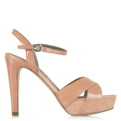 Pink Patent Leather Cross Front Platform Sandal
