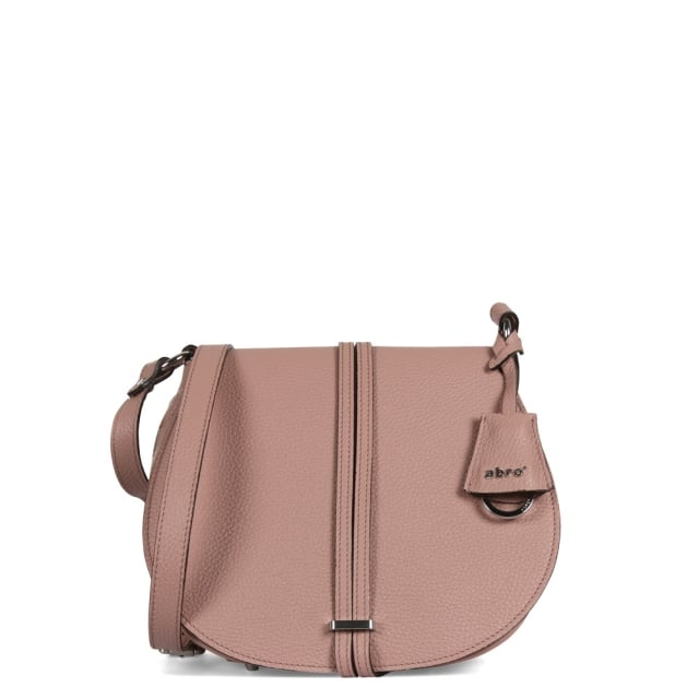 Abro Pink Pebbled Leather Saddle Bag
