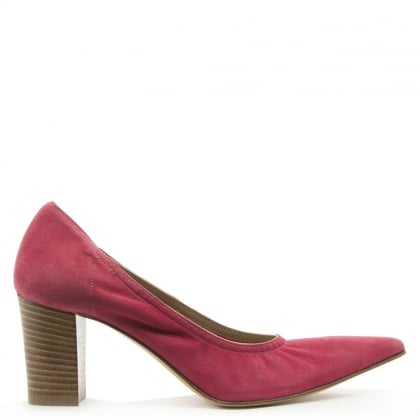 Donna Piu Pink Suede Pointed Toe Court Shoe
