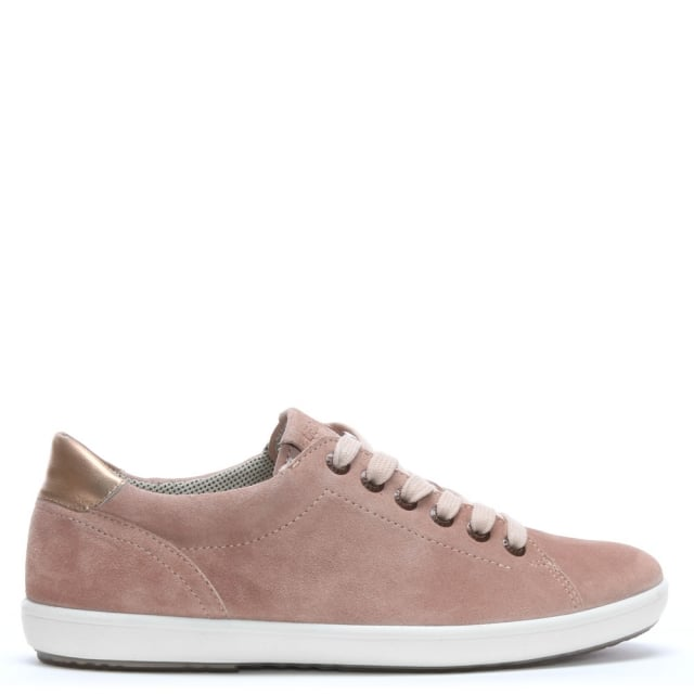 Pink Suede Rose Gold Trim Lace Up Trainers