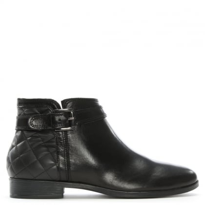 Piomba Black Leather Quilted Ankle Boots