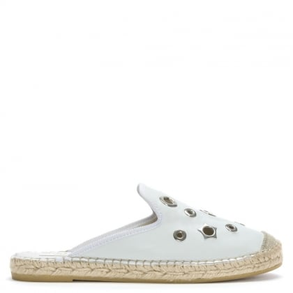 Pirie White Leather Embellished Backless Espadrilles