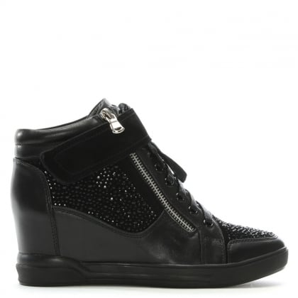Placo Black Leather Diamante Embellished Wedge High Tops