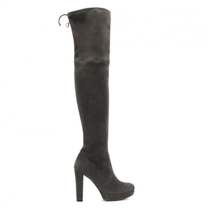 Plathighland Grey Suede Over The Knee Boot
