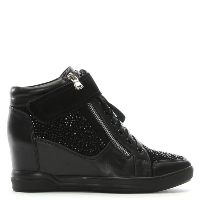 Pleco Black Leather Diamante Embellished Wedge High Tops