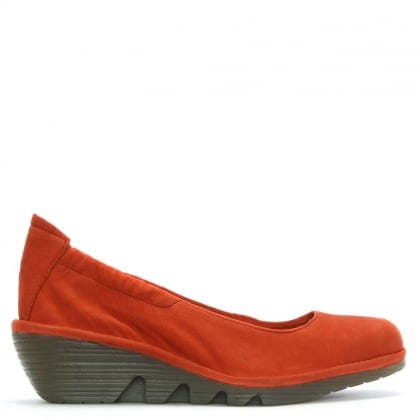 Pled Orange Suede Stretch Back Mid Wedge Pumps