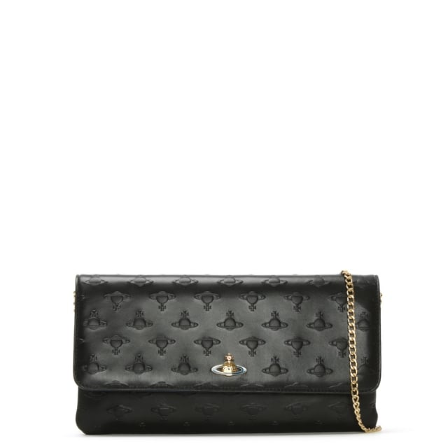 fb70a63772 Vivienne Westwood Pochette Black Leather Embossed Orb Chain Strap ...