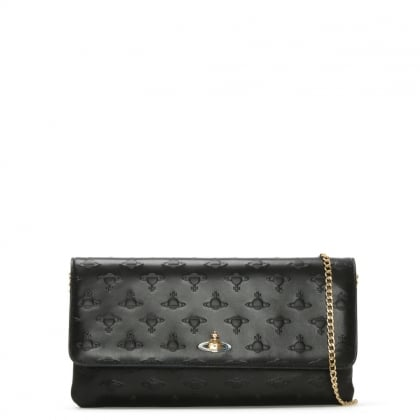 Pochette Black Leather Embossed Orb Chain Strap Clutch Bag