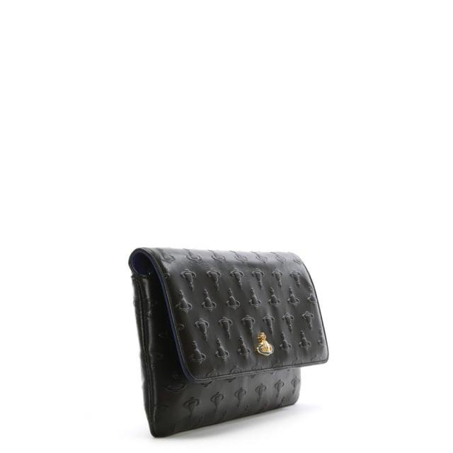 8857032b7eaf Vivienne Westwood Pochette Black Leather Embossed Orb Chain Strap ...