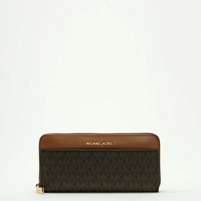 87e23bd8e394 Michael Kors Pocket Continental Brown Leather Logo Wallet