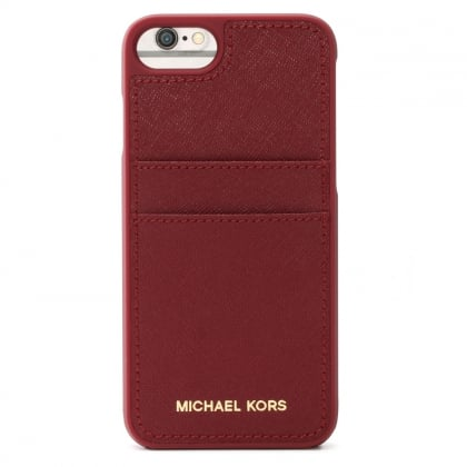 Pocket Mulberry Saffiano Leather iPhone 7 Case