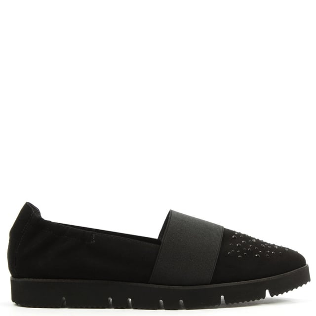Point Black Suede Cleated Crystal Toe Loafer