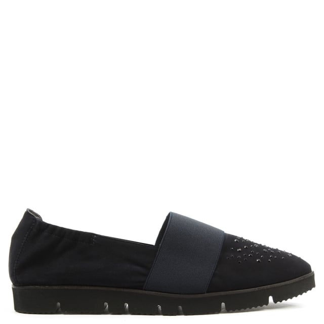 Point Navy Suede Cleated Crystal Toe Loafer