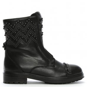 e7158c934 Daniel Malta Black Leather Triple Buckle Biker Boots