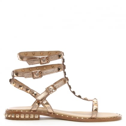 Poison Gold Metallic Leather Studded Gladiator Sandals