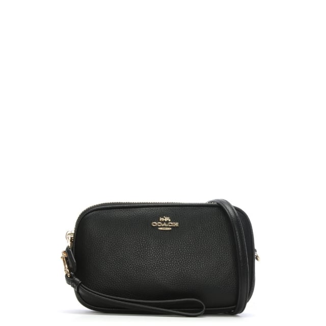Polished Black Pebbled Leather Cross-Body Clutch Bag