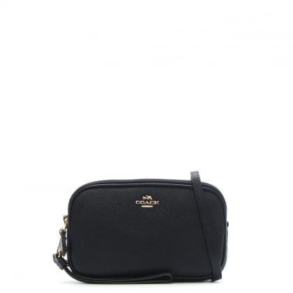 Polished Navy Pebbled Leather Cross-Body Clutch Bag