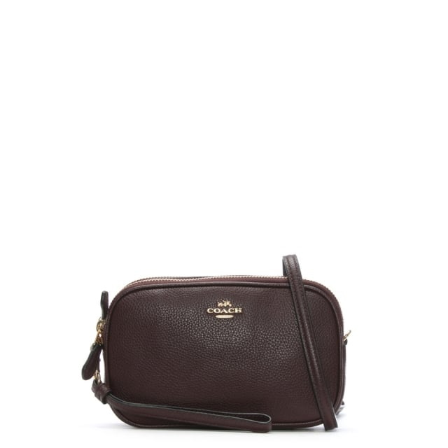 Coach Polished Oxblood Pebbled Leather Cross-Body Clutch Bag