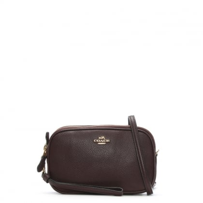 Polished Oxblood Pebbled Leather Cross-Body Clutch Bag