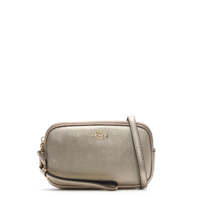 Coach Polished Platinum Pebbled Leather Cross-Body Clutch Bag