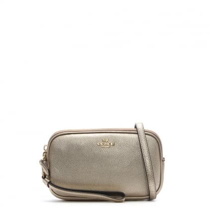 Polished Platinum Pebbled Leather Cross-Body Clutch Bag