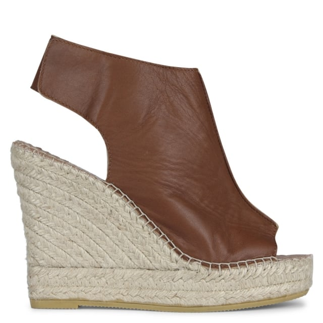 Polonium Tan Leather Wedge Espadrilles