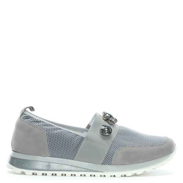 Polva Grey Suede Jewelled Slip On Trainers