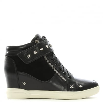 Pomfret Black Leather Star Embellished Wedge High Tops