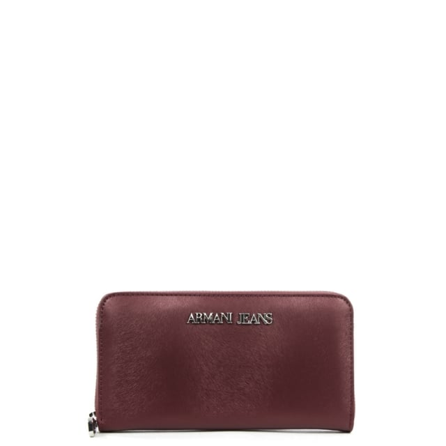 Pony Burgundy Zip Around Wallet
