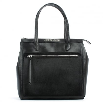 Pony Hair Front Black Eco Leather Top Zip Tote Bag