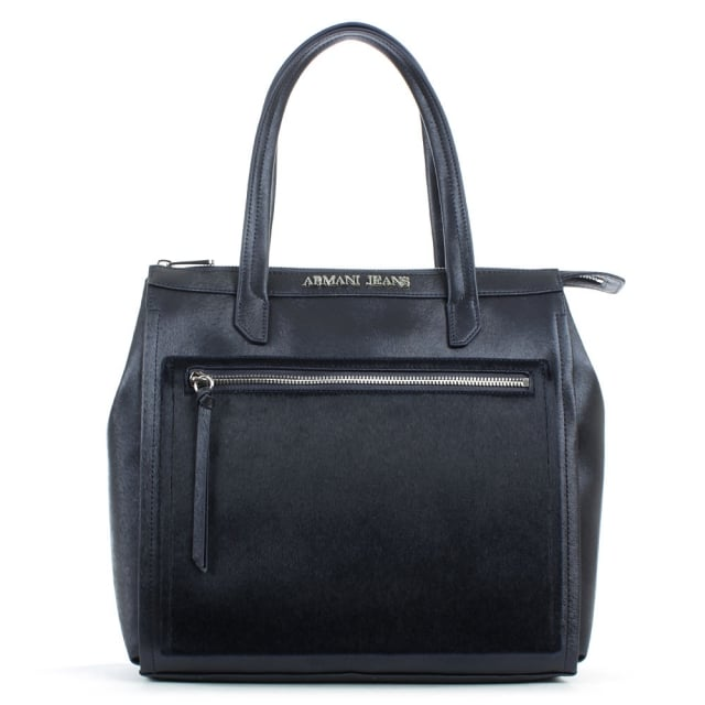 Pony Hair Front Navy Eco Leather Top Zip Tote Bag