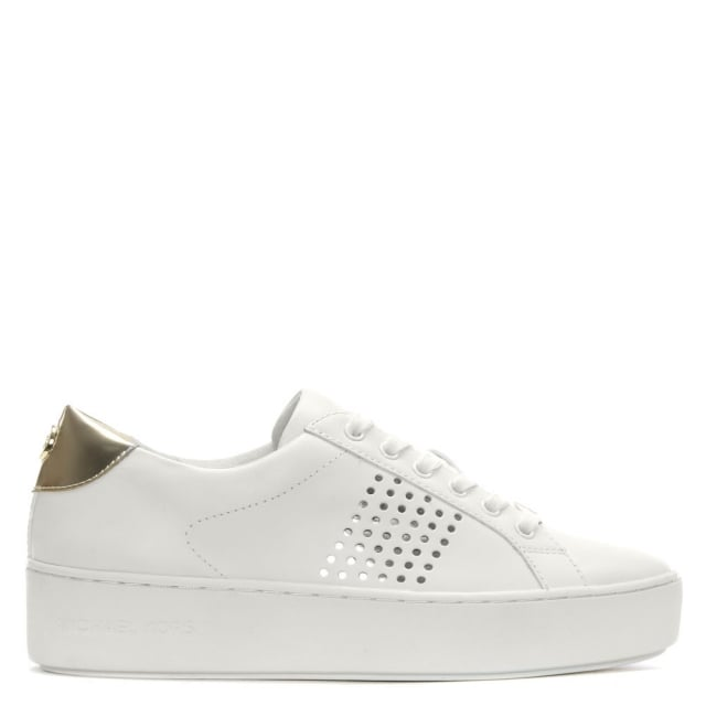 Popper White Leather Perforated Sneakers