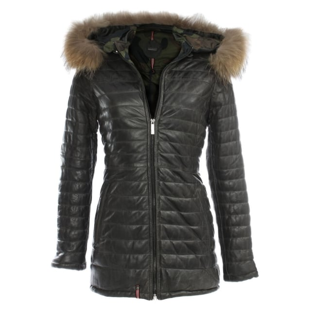 Popping Quilted Grey Leather Fur Trim Jacket