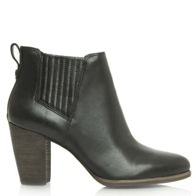 Poppy Black Leather Stacked Heel Chelsea Boot