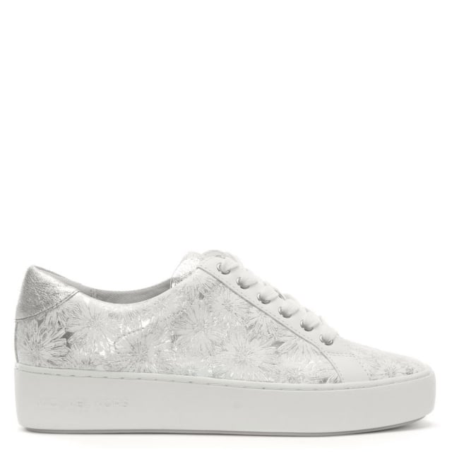 poppy optic white & silver leather floral embossed sneakers
