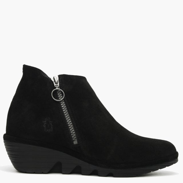 1a761f53a6b6 Fly London Poro Black Suede Cleated Wedge Ankle Boots