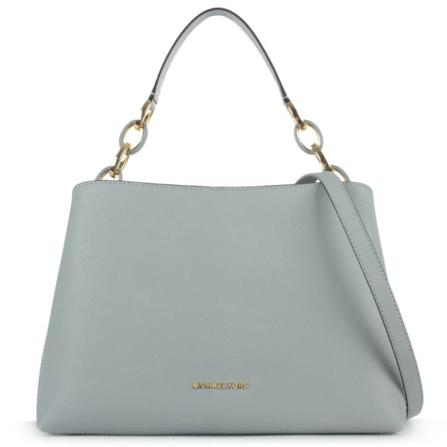 Portia Large Blue Saffiano Leather Shoulder Bag