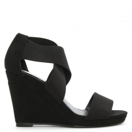 Portmore Black Cross Over Strap Wedge Sandal