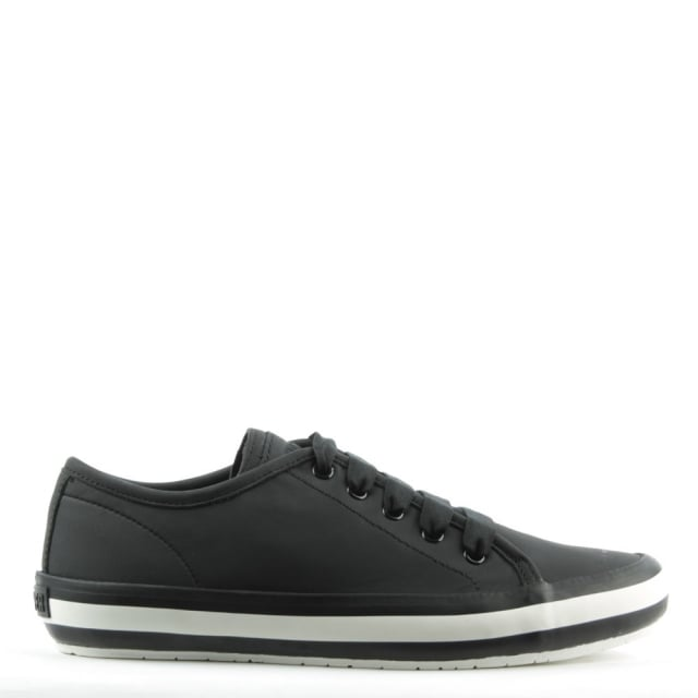Portol Black Leather Lace Up Trainer