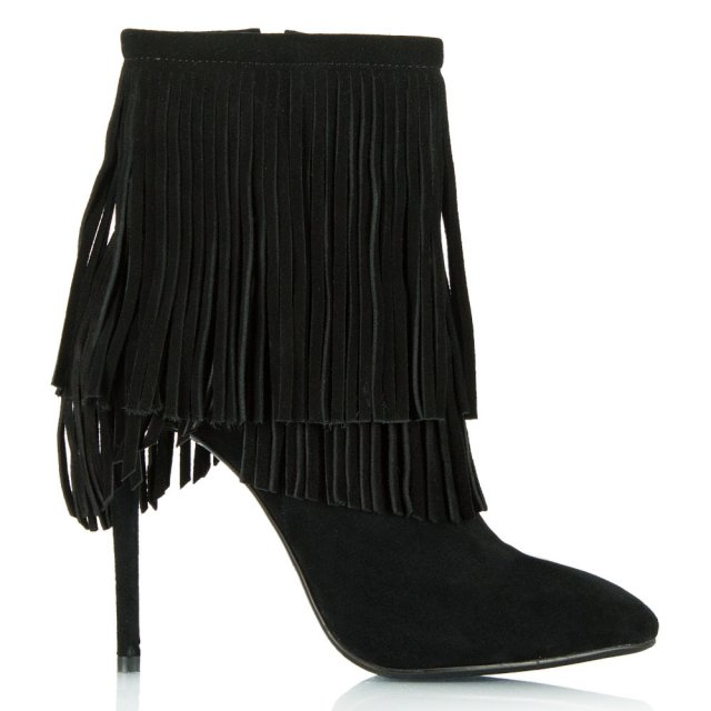 Positive Black Suede Fringed Stiletto Ankle Boot