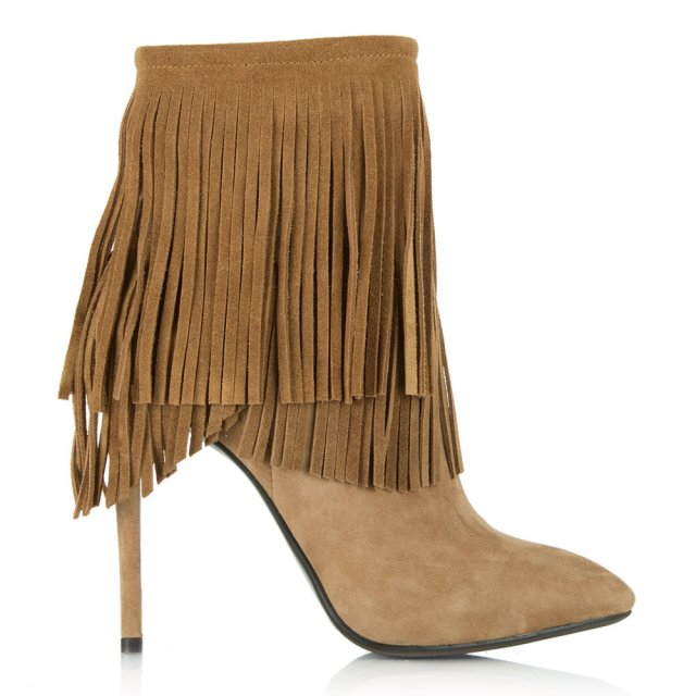 Positive Nude Suede Fringed Stiletto Ankle Boot