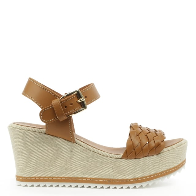 Praia Tan Leather Mid Wedge Woven Strap Sandal