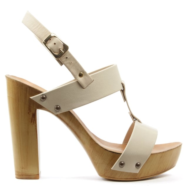 Prati Abbie Beige Leather Block Heel Sandal