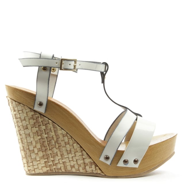 Prati Elle White Leather Woven Wedge Sandal
