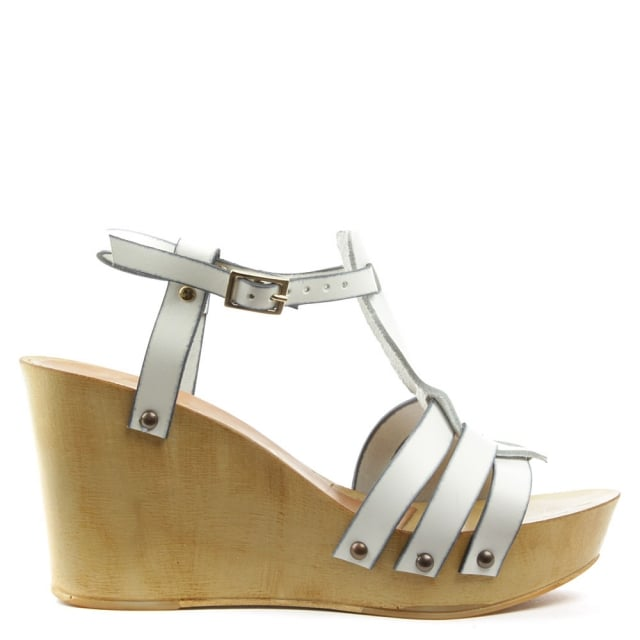 Prati Grace White Leather Wooden Wedge Sandal