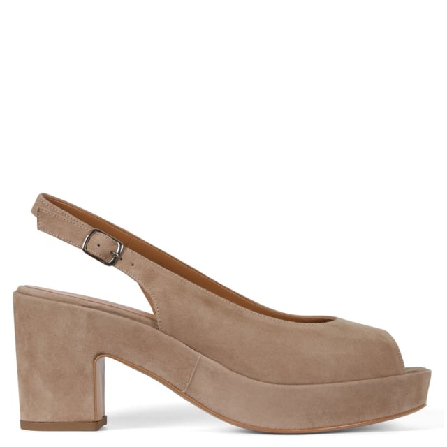 Preside Beige Suede Block Heel Sling Back Sandals