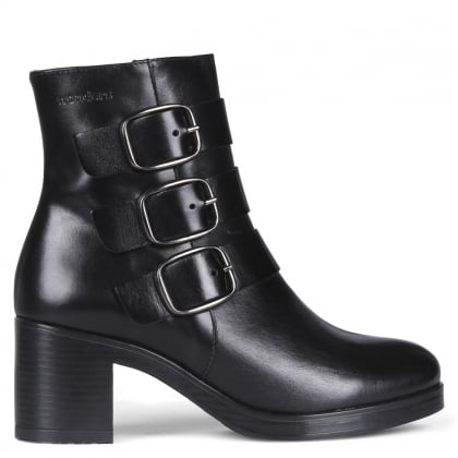 Press Black Leather Buckled Ankle Boots