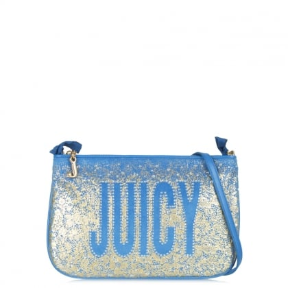 Pretty Blue Velour Cross-body