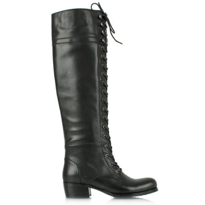 Priceless Black Leather Lace Up Front Knee High Boot
